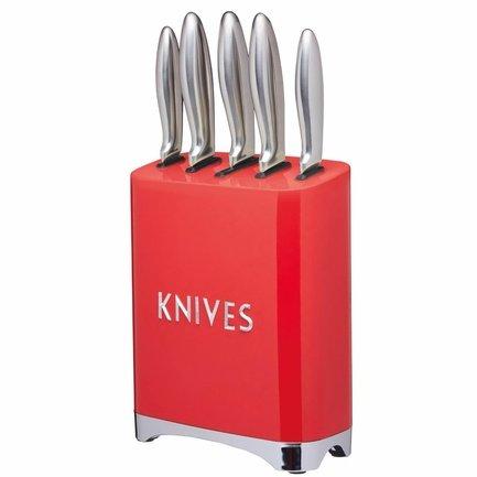 Набор ножей с блоком для хранения Lovello Retro, красный, 6 пр.