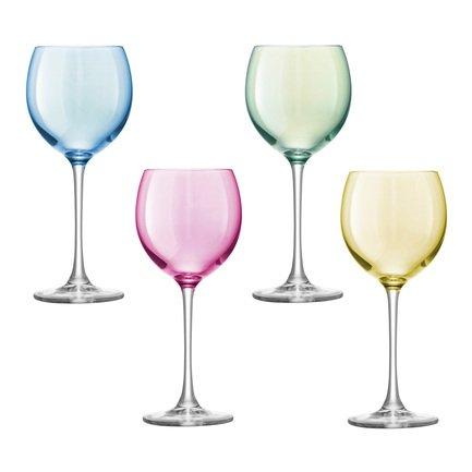 Набор бокалов для вина Polka (400 мл), 4 шт., пастельный G932-14-294 LSA International набор бокалов для вина crystalite bohemia цветы 250 мл 4 предмета