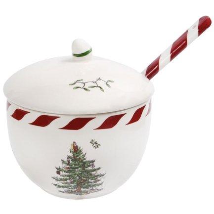 Баночка с крышкой и ложкой Рождественская ель, 11 см
