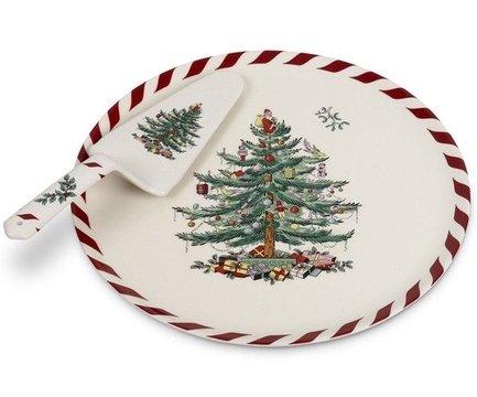 Блюдо овальное с лопаткой Рождественская ель, 28 см