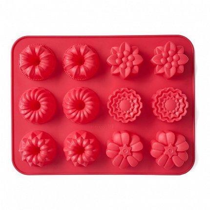 Форма для выпечки Cupcakes, 31х24х3 см, 12 кексов, красная W27312430 Walmer форма для выпечки walmer bristol 24x24x9cm w12040186