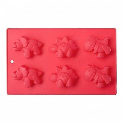 Форма для выпечки Dinosaur, 27.6х17х2.8 см, 6 кексов, красная W27271728 Walmer недорого