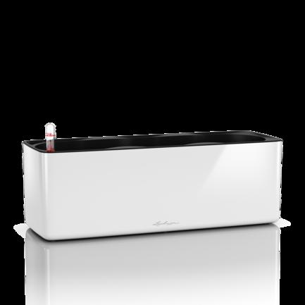 Кашпо Cube Glossy Triple, 40х14х13.5 см, белое блестящее, с системой автополива 13670 Lechuza