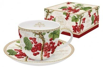Чашка (200 мл) с блюдцем Красная смородина, в подарочной упаковке EL-1036_JADI Easy Life (R2S) ваза для фруктов nuova r2s красная смородина двухъярусная