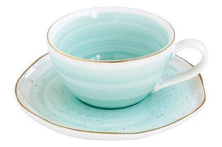 Чашка (250 мл) с блюдцем Artesanal, зелено-голубая