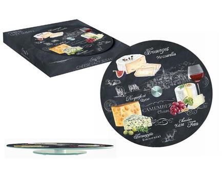 Блюдо стеклянное для сыра Мир сыров, 32 см, вращающееся R2S441_WOCH-AL Easy Life (R2S) блюдо для торта nuova r2s подарки вращающееся диаметр 32 см