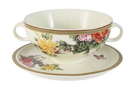 Суповая чашка Японский сад (0.5 л) на блюдце IMB0304-1730AL IMARI