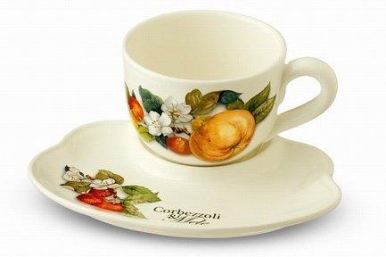 Чашка на блюдце-подносе Итальянские фрукты (500 мл) NC7960-CEM-AL Nuova Cer