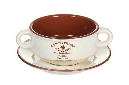 Суповая чашка на блюдце Кухня в стиле Кантри (0.3 л) TLY923-CK-AL Terracotta