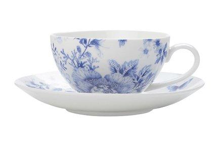 Чашка Цветочная поляна (0.25 л) с блюдцем, синяя