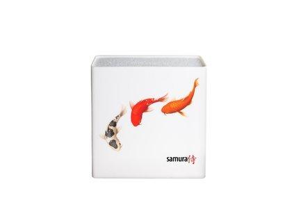 Подставка универсальная для ножей Hypercube, 23x22.5x8.2 см, белая, рыбы KBH-101F/Y Samura kbh 101f k подставка универсальная для ножей samura 230x225x82 мм пластик белая рыбы