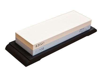 Камень комбинированный водный, #3000/1000, 18.3х6.3х2.7 см, на резиновой подставке M-3000W Suehiro