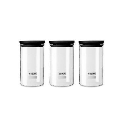 Набор банок для хранения Yohki (0.6 л), 3 шт, черные K8560-01 Bodum
