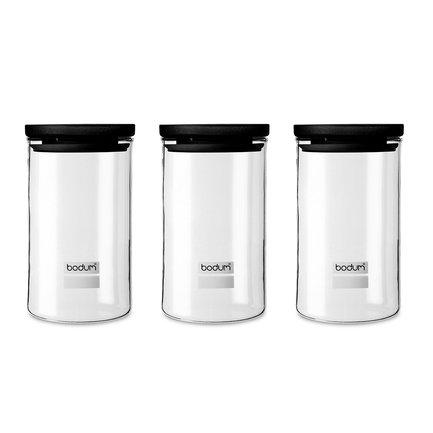 Набор банок для хранения Yohki (1 л), 3 шт, черные K8600-01 Bodum