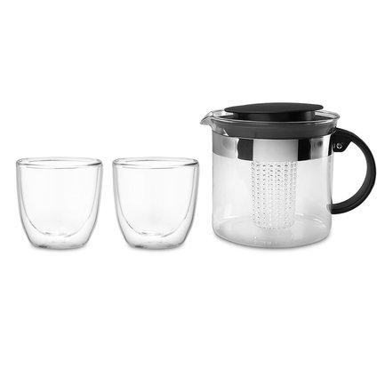 Набор чайный Bistro, 3 пр (чайник заварочный с прессом Bistro 1 л. чёрный, набор термобокалов Pavina Outdoor 0.25 л. - 2 шт.) K1875-01 Bodum чайник заварочный bodum chambord 11656 17 золотой 1 3 л