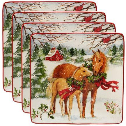 Тарелка обеденная квадратная Рождество на ферме, 27 см CER22800 Certified International Corp тарелка обеденная зимний сад радость 28 см cer28315 1 certified international corp