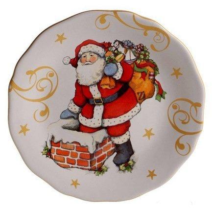 Тарелка закусочная Винтажный Санта.На трубе, 23 см CER41871-2 Certified International Corp