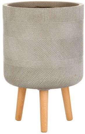 Кашпо Страйп Круглое с подставкой, 24х40 см, серо-коричневое WSTRIP24-T IDEALIST