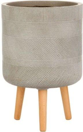 Кашпо Страйп Круглое с подставкой, 30х53 см, серо-коричневое WSTRIP30-T IDEALIST