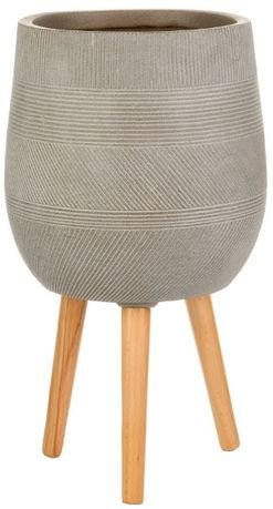 Кашпо Страйп Овальное с подставкой, 31.5х43 см, серо-коричневое WSTRIPR31-T IDEALIST