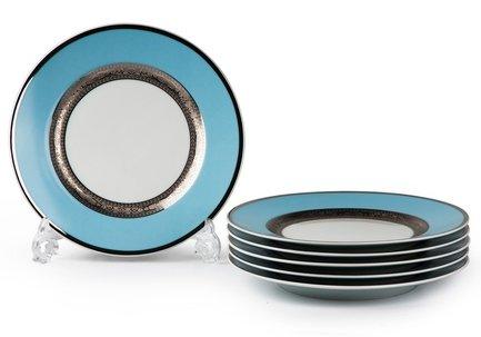Набор тарелок Monaco Blue Turquoise, 22 см, 6 шт. 539117 1626 Tunisie Porcelaine