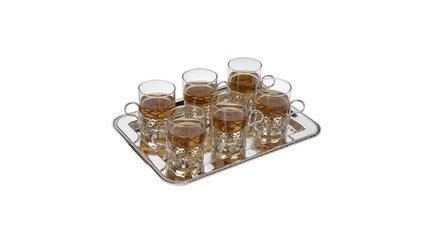 Набор стаканов с подстаканниками на подносе, 13 пр QA-0/6324 Queen Anne