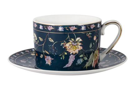 Чашка Флора (250 мл), синяя, с блюдцем AL-1557DB-ZSBD-P4 Anna Lafarg чашка большая флора 400 мл синяя с блюдцем al 1557db dj p4 anna lafarg