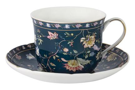 Чашка большая Флора (400 мл), синяя, с блюдцем AL-1557DB-DJ-P4 Anna Lafarg чашка большая флора 400 мл синяя с блюдцем al 1557db dj p4 anna lafarg
