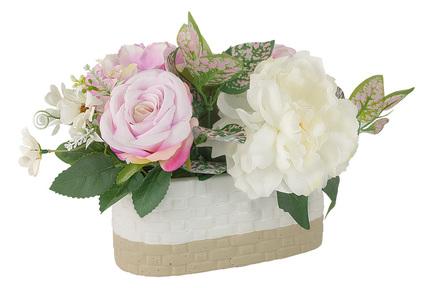 Декоративные цветы Пион и гортензии в вазе, 40х25х25 см DG-J7214 Dream Garden декоративные цветы купальницы белые в стекл вазе