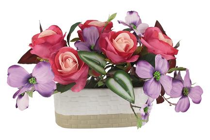 Декоративные цветы Розы с сиреневыми цветами в вазе, 40х25х25 см DG-J7526 Dream Garden декоративные цветы купальницы белые в стекл вазе