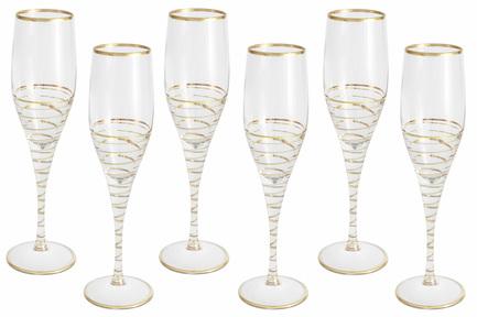 Набор бокалов для шампанского Спираль (200 мл), золото, 6 шт SM3107_870-G Same
