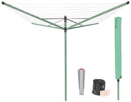 Сушилка для белья Lift-O-Matic, 50 м навески, с чехлом, мешком для прищепок, прищепками, зеленая 290527 Brabantia мешок для прищепок 18х28 см синий 105784 brabantia