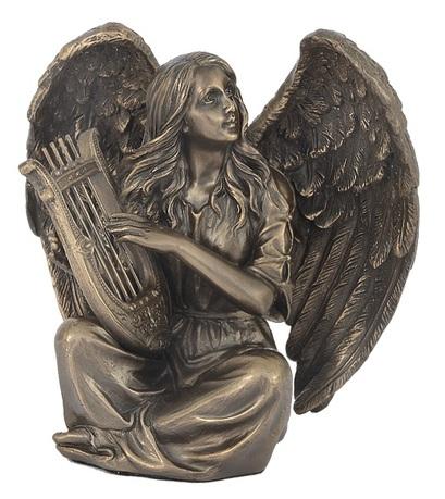 Статуэтка Ангел сидящий с лирой, 11.5х8.5х11.5 см VWU76365A1 Veronese