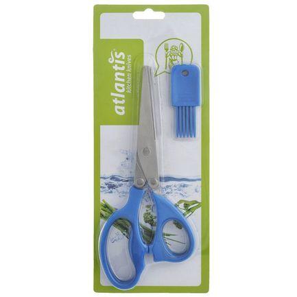 Ножницы кухонные для шинковки зелени, 21 см, синие 18LF-1005-B Atlantis