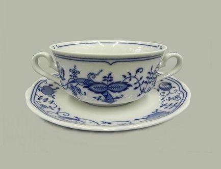 Чашка для супа 03120624-0055 Мэри-Энн Гжель (0.35 л) с блюдцем, 2 ручки 03120624-0055u Leander чашка с блюдцем страйп розовые 0 2 л