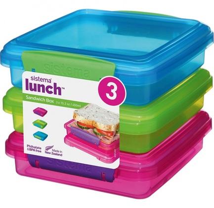 Набор контейнеров для сэндвичей Lunch (450 мл), 15.5х15х4.3 см, 3 шт 41647 Sistema
