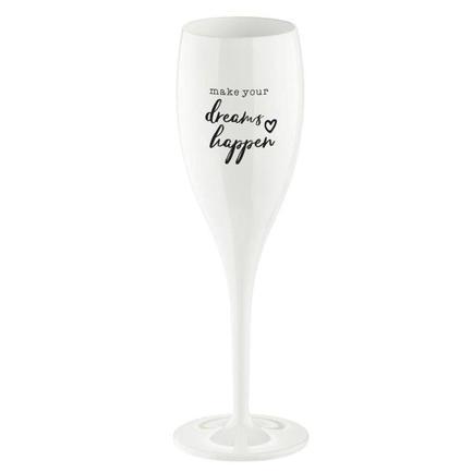 Бокал для шампанского (100 мл), с надписью Make Your Dreams Happen, белый 3441525 Koziol