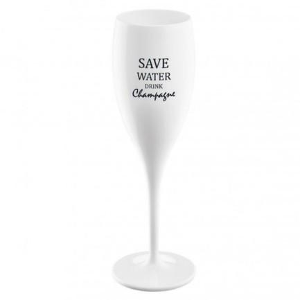 Бокал для шампанского (100 мл), с надписью Save Water Drink Champagne, белый 3436525 Koziol