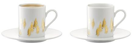 Набор кружек для кофе с блюдцами Fir Metallic (100 мл), 2 шт P263-04-157 LSA International lsa набор кофейных пар fir metallic 4 предмета 100 мл белый золотистый