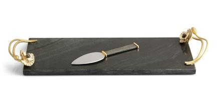 Доска для сыра с ножом Анемоны, 44х14.6х4.5 см