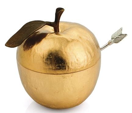 Банка для меда с ложкой Золотое яблоко, 10х9х11 см, золотистая MAR110782 Michael Aram