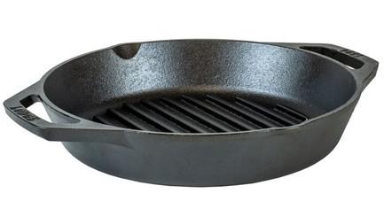 Сковорода-гриль с двумя ручками чугунная, 26 см, черная