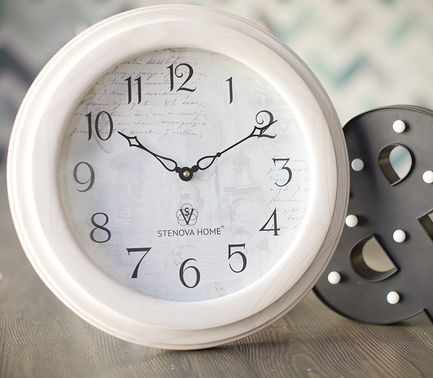 Часы Je T'aime, 35 см, белые