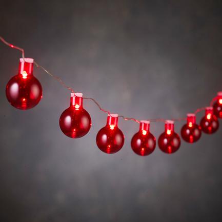 Гирлянда Шарики красные, 20 ламп, 1.9 м, на батарейках 84118 Luca lights