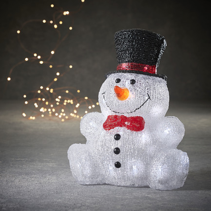 Снеговик сидячий в шляпе, 30 ламп, 31.5х24 см 84957 Luca lights