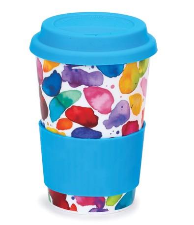 Кружка с силиконовой крышкой Яркие краски (440 мл) (голубая)