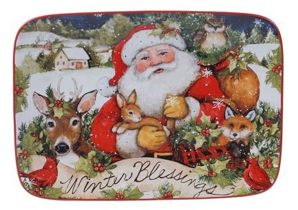 Блюдо прямоугольное Магия Рождества. Санта, 35.5х25 см CER28296 Certified International Corp блюдо прямоугольное магия рождества санта 35 5х25 см cer28296 certified international corp