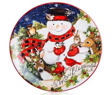 Тарелка закусочная Магия Рождества. Снеговик, 23 см CER28301-4 Certified International Corp блюдо прямоугольное магия рождества санта 35 5х25 см cer28296 certified international corp