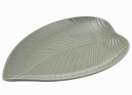 Блюдо сервировочное In The Forest Leaf, 38х26 см, серо-зеленое