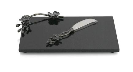 Фото - Доска для сыра с ножом Черная орхидея, 32x21 см MAR110839 Michael Aram подставка для салфеток черная орхидея 20 см черная mar110825 michael aram